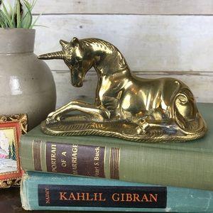 RARE Vintage Brass Unicorn Lying in Grass Figurine